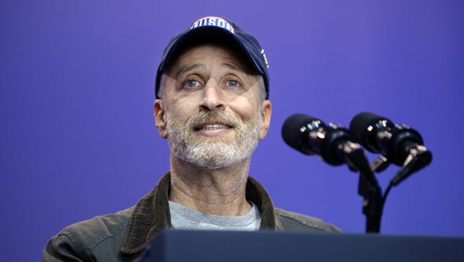 Jon Stewart introduces US Vice President Joe Biden at the kick off of the 5th anniversary of Joining Forces and the 75th anniversary of the USO at Joint Base Andrews in Maryland, USA, 05 May 2016. Stewart returned to TV briefly after the Republican National Convention.