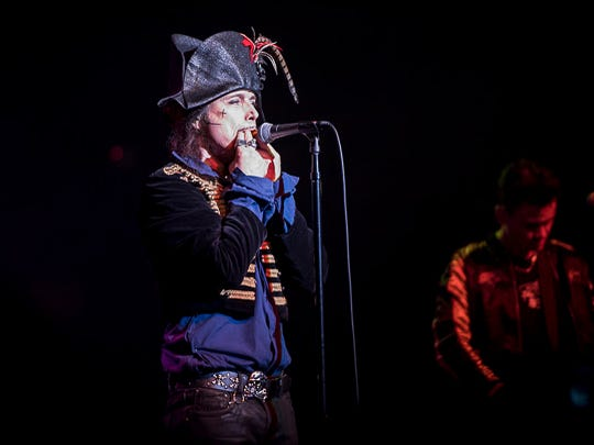 Adam Ant whistling on stage at the Rialto Theatre,Tucson.