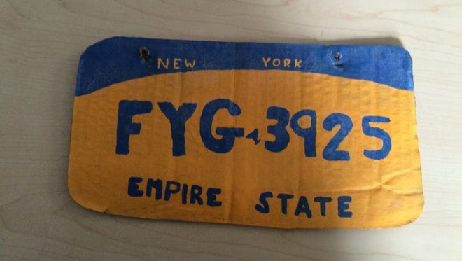 An Erie County (N.Y.) Sheriff's Office deputy found this homemade New York license plate on a vehicle on Wednesday, March 2, 2016.