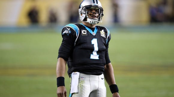 Feb 7, 2016; Santa Clara, CA, USA; Carolina Panthers quarterback Cam Newton (1) during the third quarter against the Denver Broncos in Super Bowl 50 at Levi's Stadium. Mandatory Credit: Cary Edmondson-USA TODAY Sports