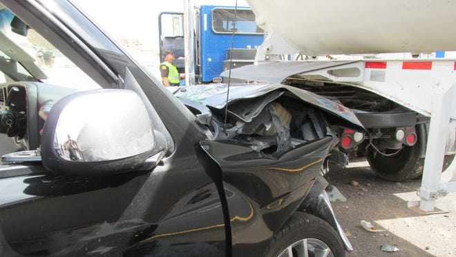 A Chevy Tahoe crashed into a semitruck on Interstate 15 in St. George on May 9, 2018.