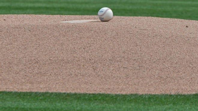 Mar 3, 2017; Mesa, AZ, USA; General view of a baseball on the mound prior to a spring training game between the Oakland Athletics and the San Francisco Giants at HoHoKam Stadium. Mandatory Credit: Matt Kartozian-USA TODAY Sports