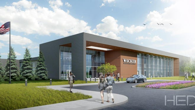 This architect's rendering shows the proposed North American headquarters location of the Wacker Chemical Corp. to be built in Pittsfield Charter Township in Washtenaw County. The new facility is expected to be completed by 2022. The Raisin Township location of Wacker will remain a production facility.