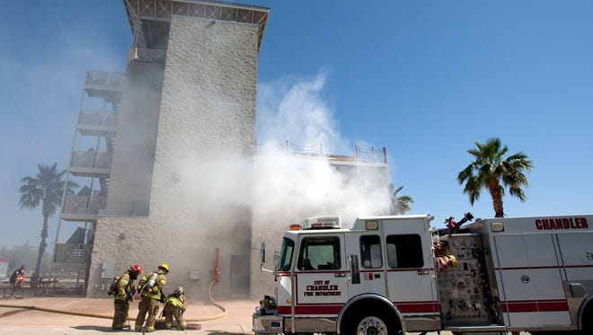 Fire crews from Chandler, Maricopa, and Gila River train at the Chandler Fire Training Center.