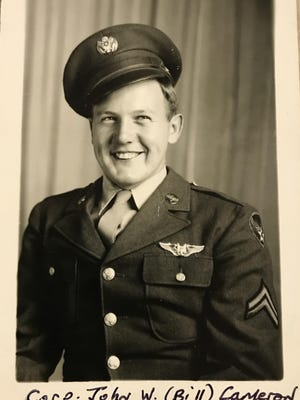 "Army Air Corps Cpl. John William ""Bill"" Cameron is pictured in uniform during World War II in 1945."