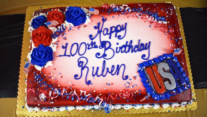 The birthday cake at Ruben Talamantes' 100th birthday party on July 17, 2018.