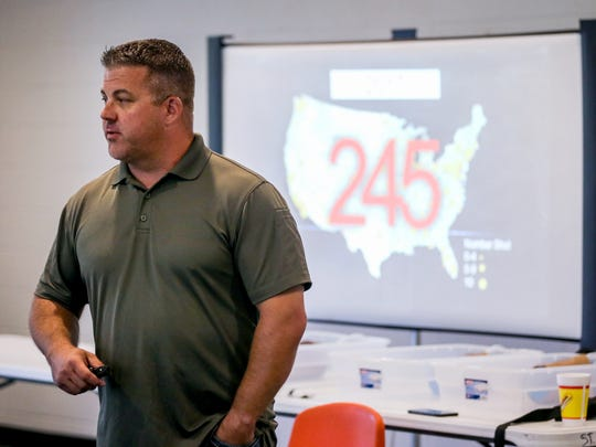 Jayme Farmer, captain/tactical medic team leader of the Midland Fire Department, teaches the civilian response to active shooter training session Saturday, June 2, 2018, at St. Paul Presbyterian Church. Trainees learned that between 2000 to 2017 there has been 245 active shooter events.