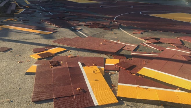 A vandal attack at the Fourth Street Playground damaged mats on the basketball court.