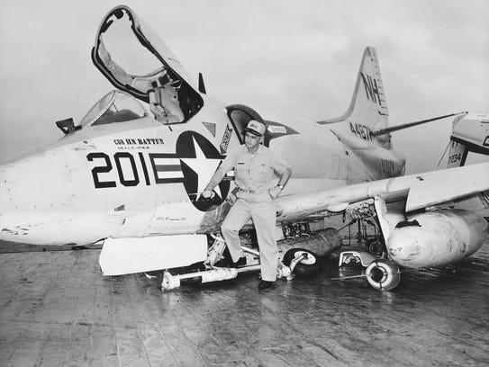 """An A4D Skyhawk after a """"minor"""" crash landing on the"""