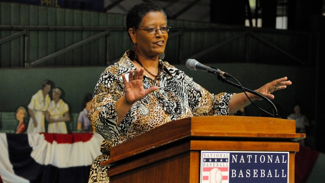 Claire Smith speaks at the National Baseball Hall of Fame and Museum in this 2010 photo.