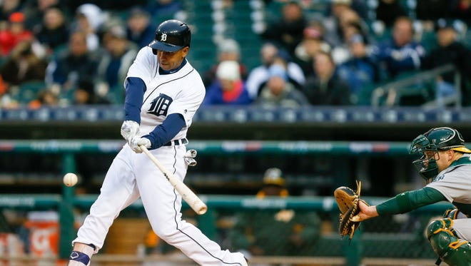 Anthony Gose singles on a line drive in the fifth inning against the Oakland Athletics at Comerica Park in Detroit on Tuesday, April 26, 2016.