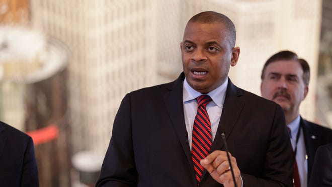 U.S. Department of Transportation Secretary Anthony Foxx speaking in Detroit at Cobo Center in January as he outlined a set of policies today designed to speed up the development, testing and deployment of self-driving cars.