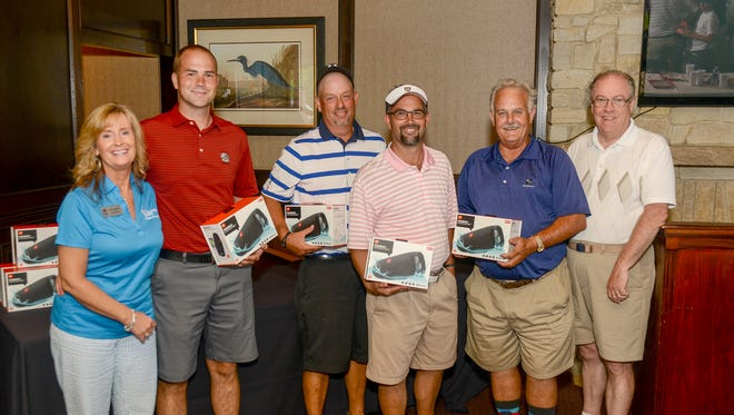 Four-Man Scramble award ceremony with the Ralph E. Morgan Electrical team. Pictured from left to right Karen Mitchell, College Foundation, Brandon Burris, Pete Caldwell, Chris Parker, Ralph Morgan and Vol State president Jerry Faulkner.