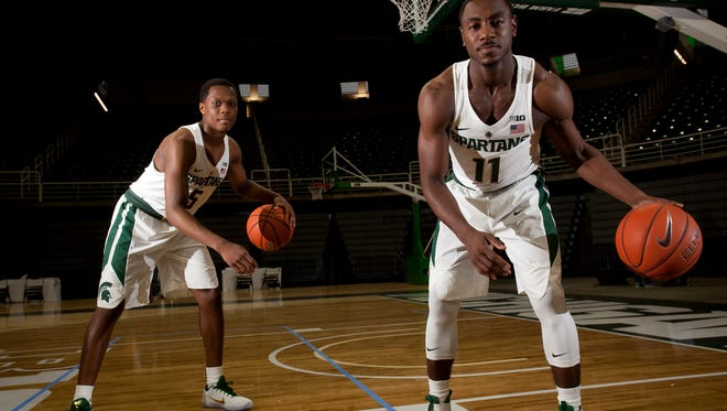 Freshman guard Cassius Winston, left, and junior guard Tum Tum Nairn Jr. pose for a portrait on Thursday, Oct. 20, 2016 during MSU men's basketball media day at the Breslin Center.