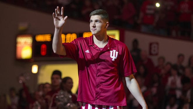 Indiana Hoosiers forward Collin Hartman (30) is introduced during Hoosier Hysteria at Assembly Hall, Bloomington, Ind., Saturday, October 22, 2016.
