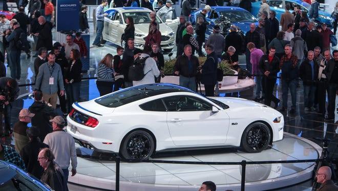 A 2018 Ford Mustang GT 5.0 is revealed on Tuesday January 17, 2017 at the Ford exhibit during the 2017 North American International Auto Show at Cobo Center in Detroit.