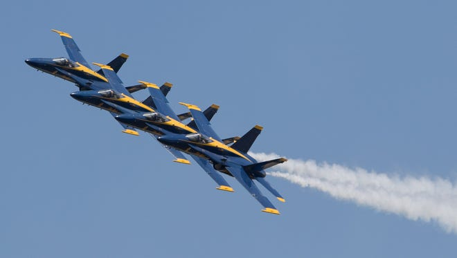 The Blue Angels perform during the 2016 Wings Over South Texas air show at Naval Air Station Kingsville.