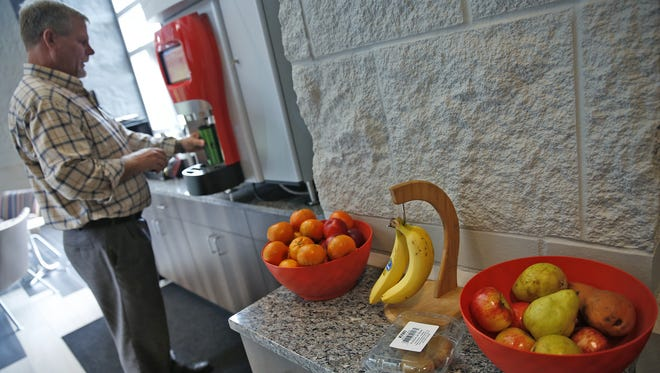Fresh fruit and granola bars, as well as drinks are provided for employees daily, at First Internet Bank in Fishers, one of the Top Workplaces in Central Indiana for 2017.