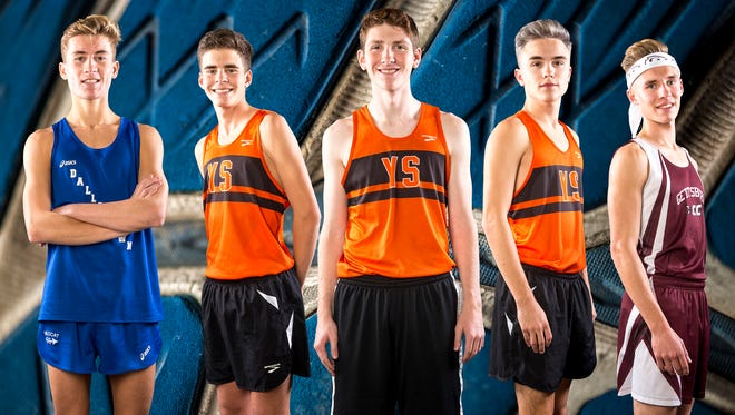 From left to right: Dallastown's Bryce Gable, York Suburban's Josh Kerr, York Suburban's Bryce Ohl, York Suburban's Jarrett Raudensky and Gettysburg's Luke Milhimes.