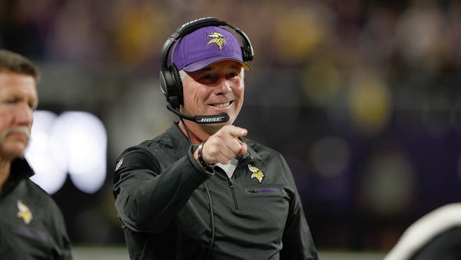 Vikings offensive coordinator Pat Shurmur, seen here in a file photo from the 2016 season in a game against the Giants, became the fourth candidate to officially interview for the Giants head coaching job Saturday in Minnesota.