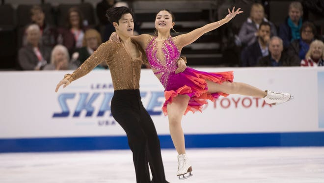 Maia Shibutani and Alex Shibutani perform in the dance short program during the 2018 U.S. Figure Skating Championships at SAP Center in San Jose, Calif., on Friday.