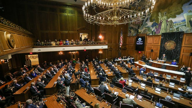 """The general assembly convenes for Gov. Eric Holcomb's second State of the State address as Indiana Governor, at the Indiana Statehouse, Indianapolis, Tuesday, Jan. 9, 2018. Holcomb cited re-training Indiana workers as his administration's top priority, in order to fill an estimated 85,000 unfilled jobs. Holcomb called it """"the defining issue of the decade"""" and set a goal for the coming year to educate or retrain 55,000 Hoosiers who don't have a high school diploma or didn't finish college."""