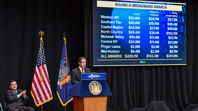 Gov. Andrew Cuomo announces Round III of the NY Broadband Program to bring High Speed internet access to all New Yorkers during a visit to Plattsburgh on Jan. 31, 2018.