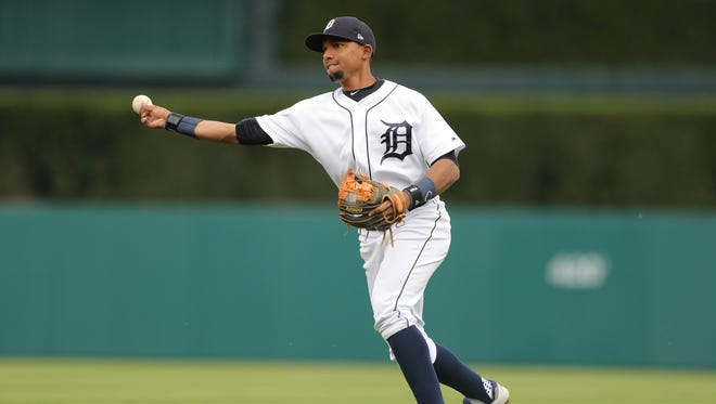Tigers second baseman Dixon Machado throws out Rays left fielder Dinard Spain during the third inning on Wednesday, May 2, 2018, at Comerica Park.