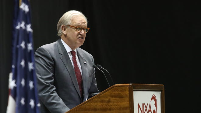 Former Govenor Jay Nixon speaks at Nixa High School's Class of 2018 Commencement ceremonies took place at JQH Arena on Sunday, May 13, 2018. Jason Connel / For the News-Leader