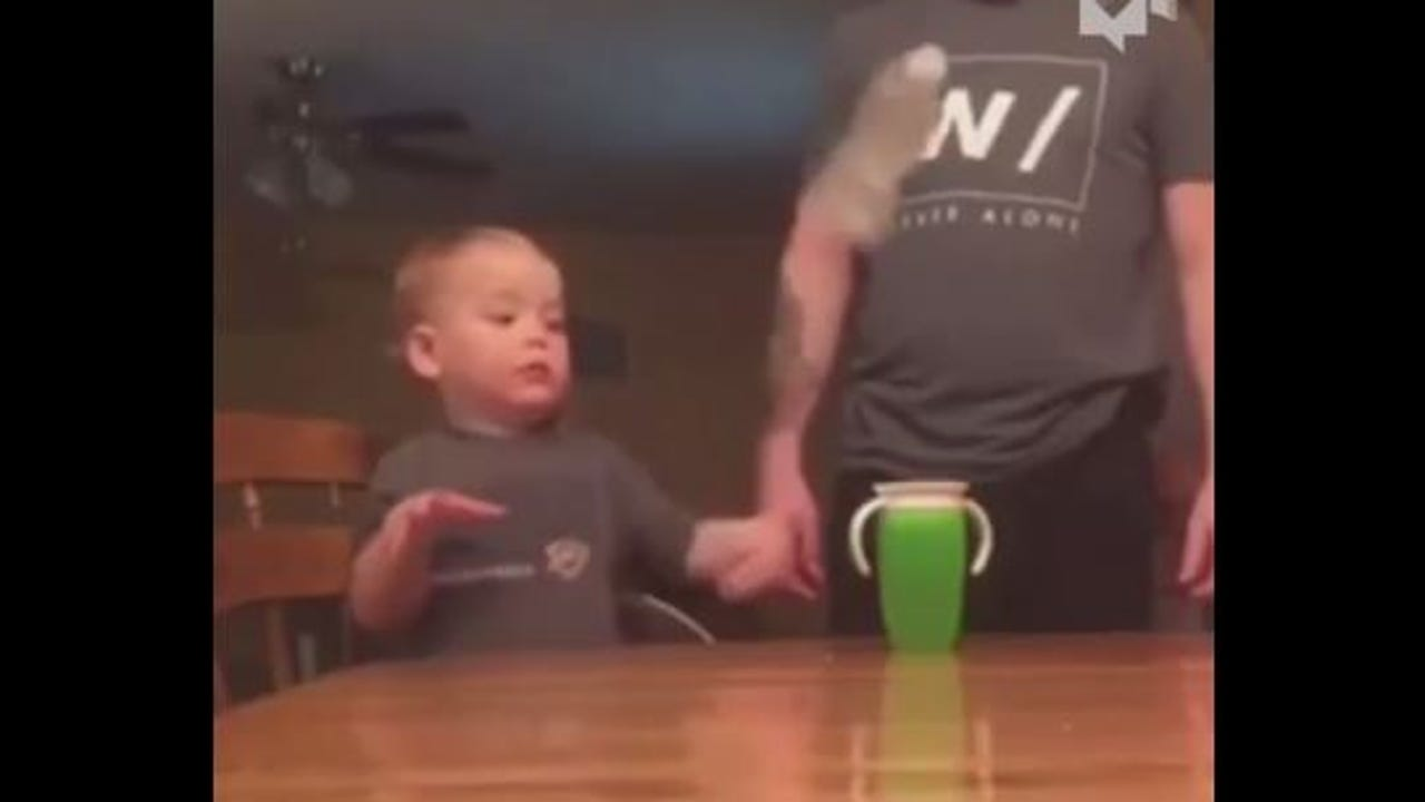 This two-year-old shocks his dad with his mad skills.