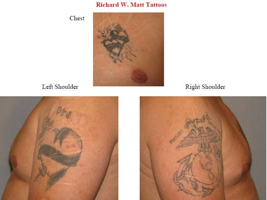 Tattoos for Richard Matt, which police released Monday.