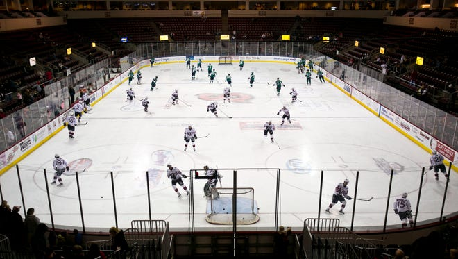 The Arizona Sundogs and the Denver Cutthroats take the ice before their game at Tim's Toyota Center in Prescott Valley, AZ on November 10, 2012.