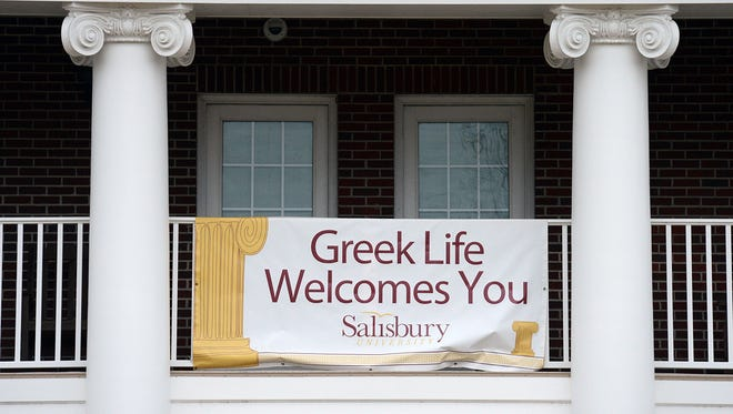 Sigma Alpha Epsilon, the fraternity at the center of hazing scandals throughout the country, has announced it has eliminated pledging nationwide. Here, students are welcomed to Greek life by a banner on the front of the Scarborough Student Leadership Center at Salisbury University in Salisbury, Md.