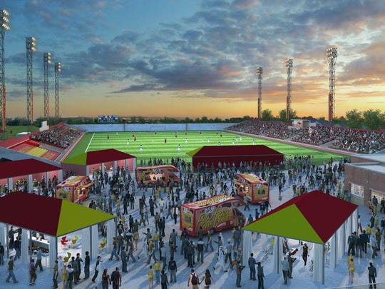 A rendering shows a remodeled Keyworth Stadium, which will be the home pitch for the Detroit City Football Club.