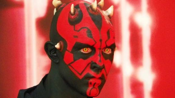 Darth Maul poses with fans at Disney's Star Wars Weekends 2013.