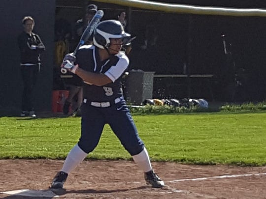 Hannah Catallo-Stooks holds school records for single-season HRs (11), RBI (58), hits (49) and doubles (15) as well as on-base percentage and batting average.