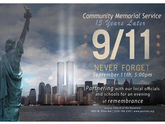 Sept. 11 Memorial service in Porterville.
