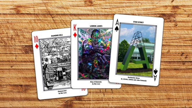 """Here are some prototypes of cards for the """"Akron on Deck"""" deck that is being assembled by Akron artist Mac Love. Forty percent of the proceeds from the $15 sets will go to the 50-plus local artists who are creating them."""