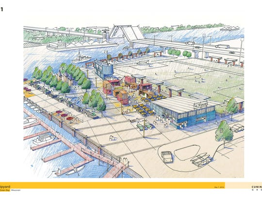 "A rendering of the revamped Shipyard development shows an athletic field, ""container park,"" and waterfront amenities."