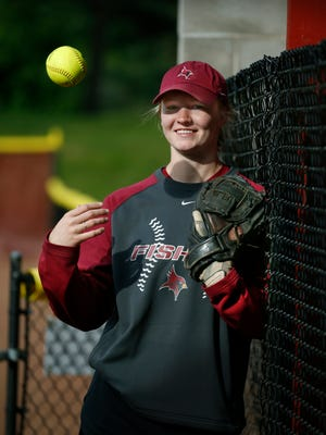 St. John Fisher softball pitcher Lindsey Thayer during practice at home before leaving for the NCAA Division III College World Series taking place this weekend in Oklahoma City.