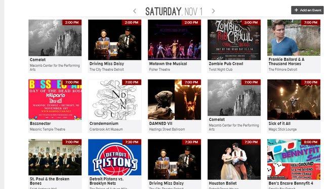 New events calendar at http://apps.detroitnews.com/events