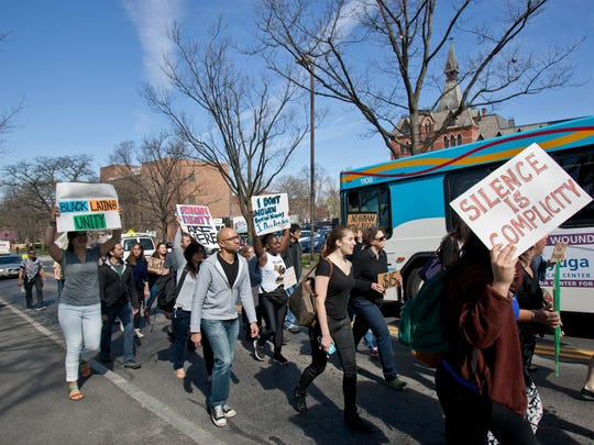 Protesters disrupted traffic Friday morning, and forced TCAT buses to re-route temporarily.