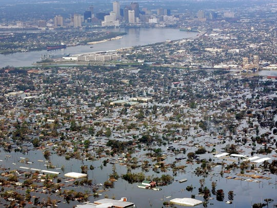 Floodwaters from Hurricane Katrina cover a portion of New Orleans a day after Katrina passed through the city.