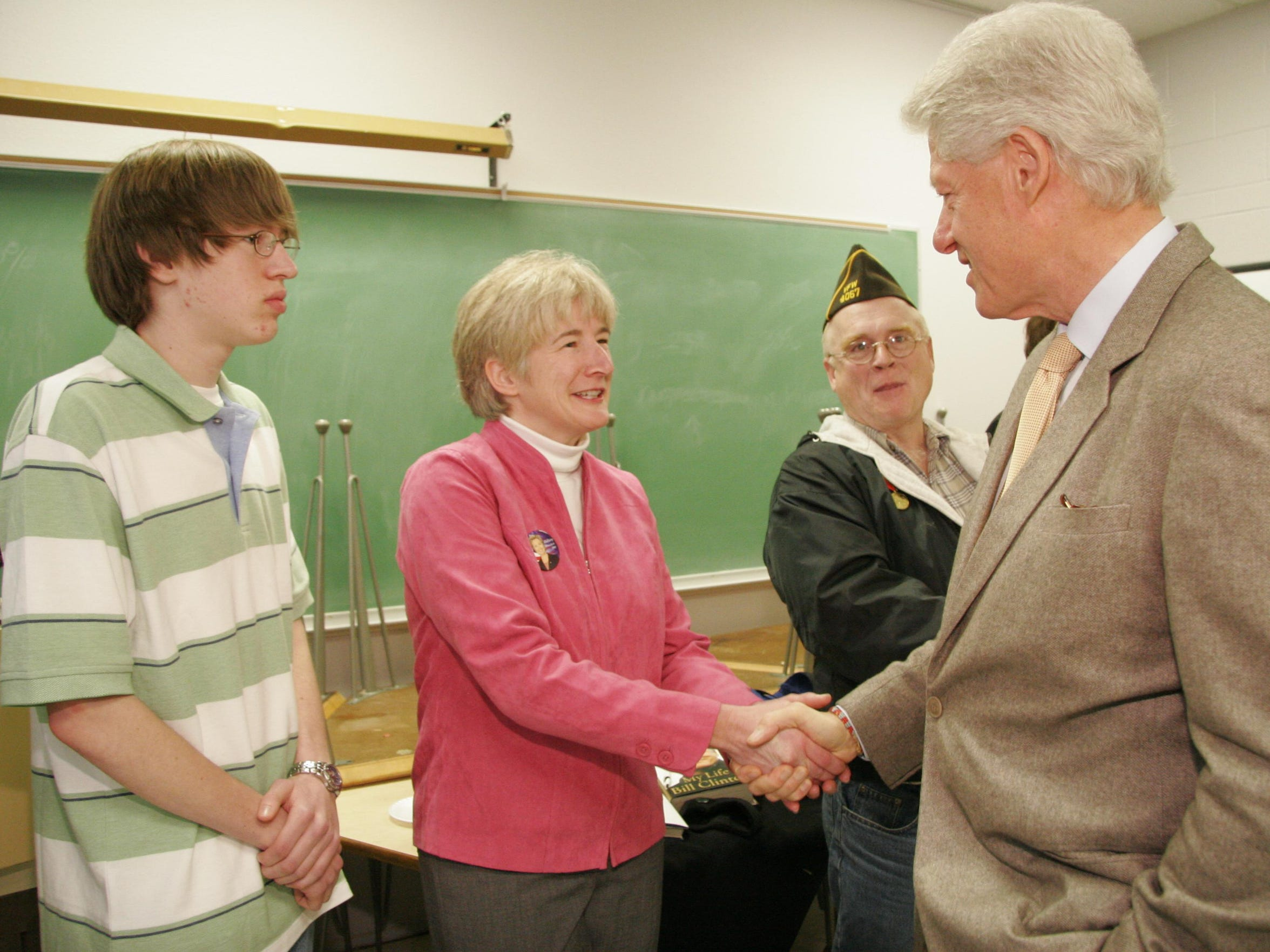 Pam Hillery and her son Dolan meet with former President Bill Clinton in Havre in 2008. Hillery was on Hillary Clinton's Montana steering committee eight years ago and said she aims to live to see her inaugurated in January.
