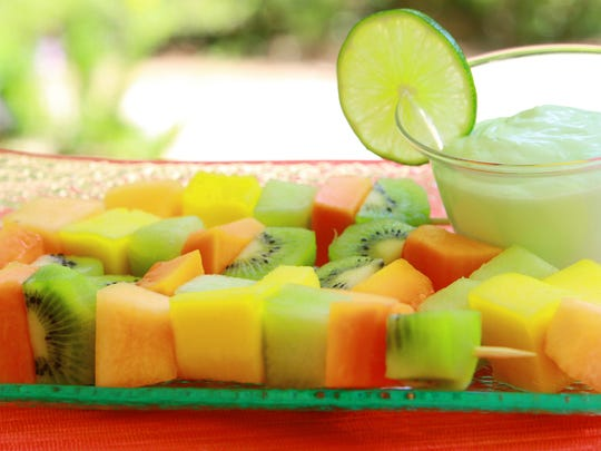 Fruit kabobs, grilled or uncooked, are a light treat to accompany your main Labor Day meal.