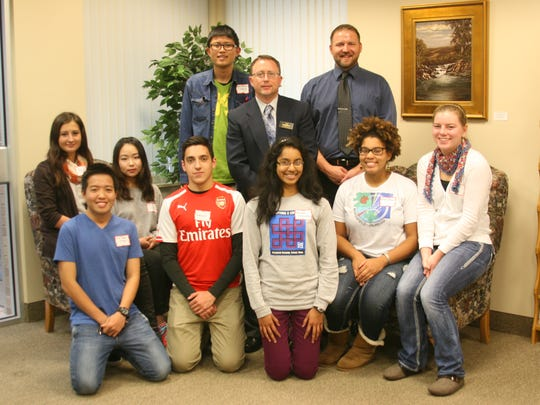 Marshfield Area Chamber of Commerce & Industry recently welcomed international and exchange students to Marshfield from various countries around the world who have come to study in area high schools. Also, area students who traveled abroad this past summer were recognized. Students attending included: (at front) Anh Nguyen (Vietnam), from left, Francisco Grunert (Chile), Michelle Fernandez (AFS to Spain), Kailey Hubler (Sister City Summer in Argentina), Emily Ott (Sister City Summer in Argentina); (at back) Petra Hlozna (Slovakia), Jaeyoung Noh (South Korea), and Suthipoj Noisakorn (Thailand) oined by Scott Larson, MACCI executive director, and Mayor Chris Meyer.