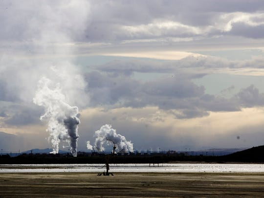 A geothermal power plant on the shore of the Salton