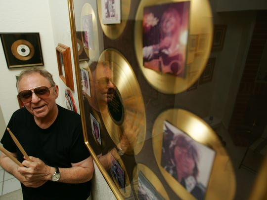"""Drummer Hal Blaine, shown with several of his gold records in 2007, first spoke about """"The Wrecking Crew"""" documentary at a 2007 preveiw Cinemas Palme d'Or in Palm Desert."""