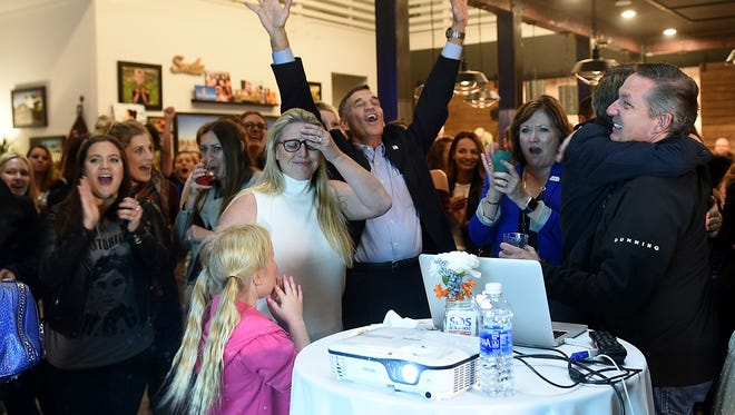 Supporters react to early favorable election results for Washoe County ballot question 1 at the Rancharrah Pavilion in Reno on Nov. 8, 2016.