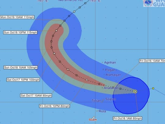 Forecast tracking graphic for Tropical Storm Champi issued at 1 a.m. Friday, Oct. 16.